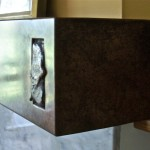 Patinated Copper Fireplace Mantelpiece with smelted insert